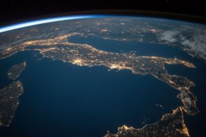 View of earth from space showing Italy - Space Backgrounds HD
